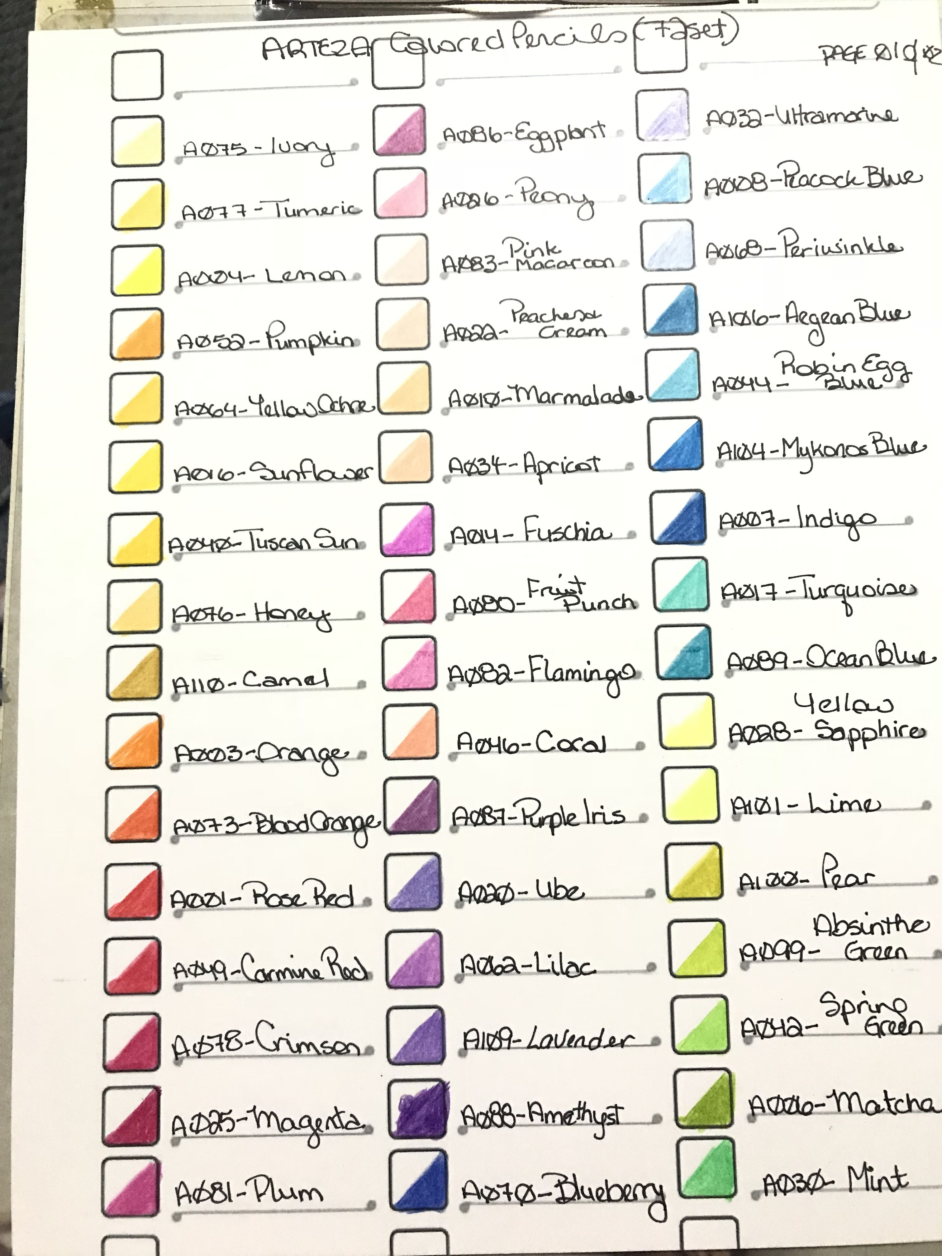 Arteza Expert Colored Pencil Chart Page 1 Done On 60lbs