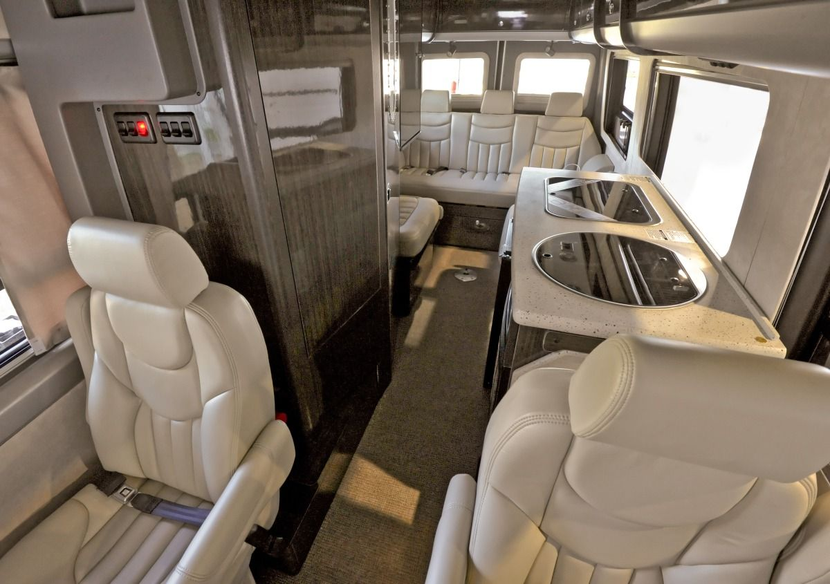Mercedes benz sprinter shuttle van interior luxury seats for Used mercedes benz sprinter rv for sale