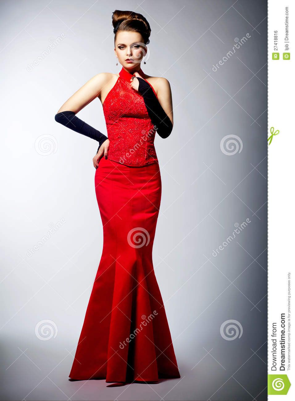 Woman In Black Gloves And Wedding Red Dress Posing Dresses Red Dress Red Wedding [ 1300 x 956 Pixel ]