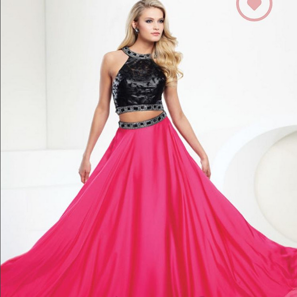 This two piece pink and black gown is at Alexandra\'s Formals in ...