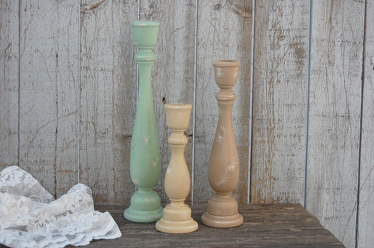Painted wood candlesticks shabby chic hand painted sage green