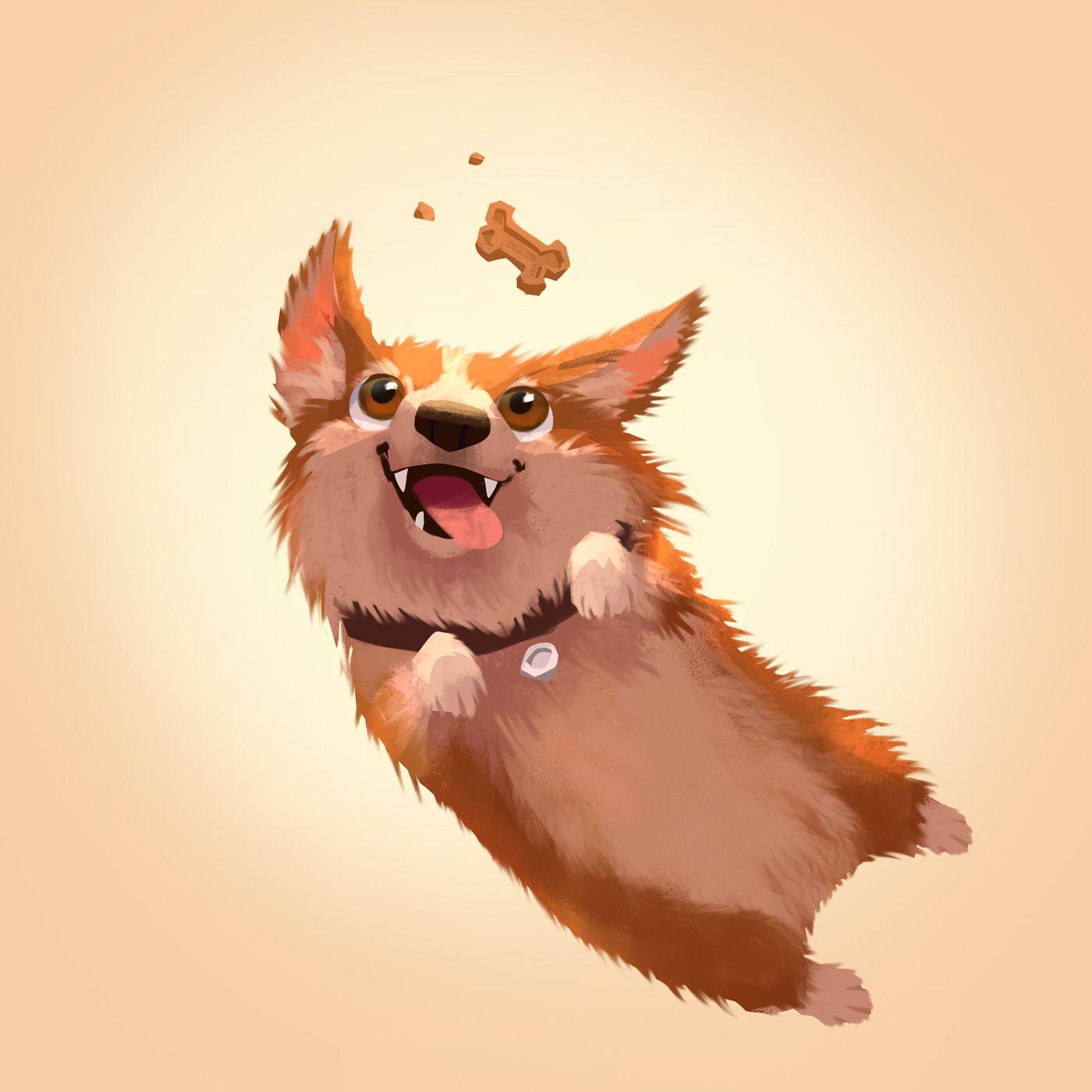 ef355382d2e565 Mochi the Corgi on Behance   character design   Corgi drawing, Dog ...