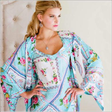 Plum Pretty Sugar- Kimono Style Robe. Ankle Length. Silk Road Sweet.