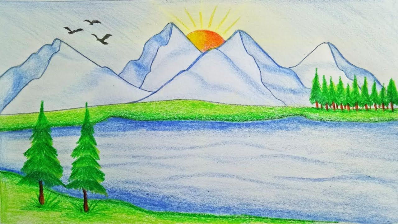 Most beautiful scenes of the nature drawing how to draw scenery of mountain step by step very easy youtube