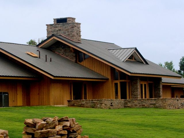 Metal Roofing   Also Like The Stone In House Carried Into Yard As Stone  Wall