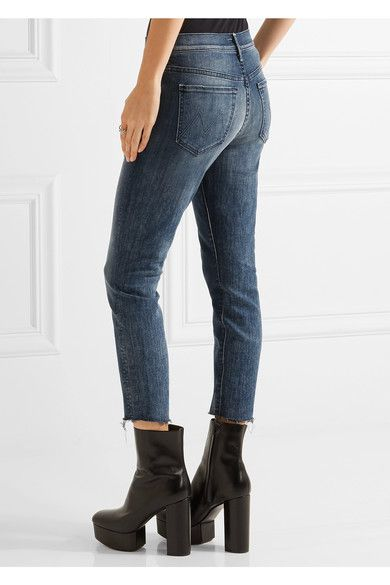Mother - The Fly Cut Stunner Distressed Mid-rise Skinny Jeans - Dark denim
