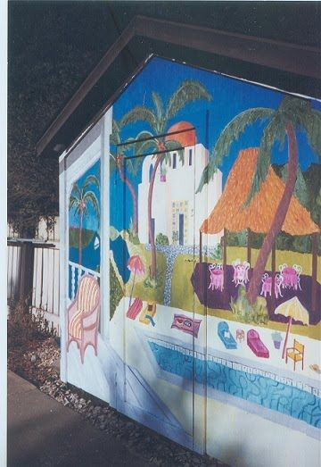 Mural On A Pool House Thomas Mcknight Inspired Design Per Client