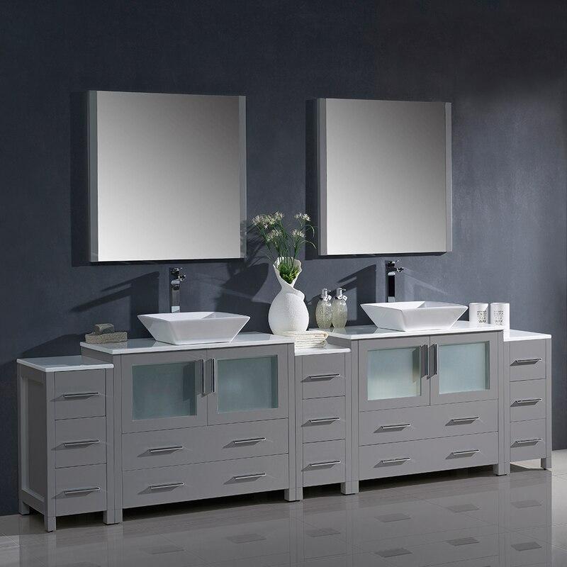 Fresca Torino 108 Double Sink Bathroom Vanity W 3 Side Cabinets Vessel Sinks Double Vanity Bathroom Vanity Set With Mirror Double Sink Bathroom