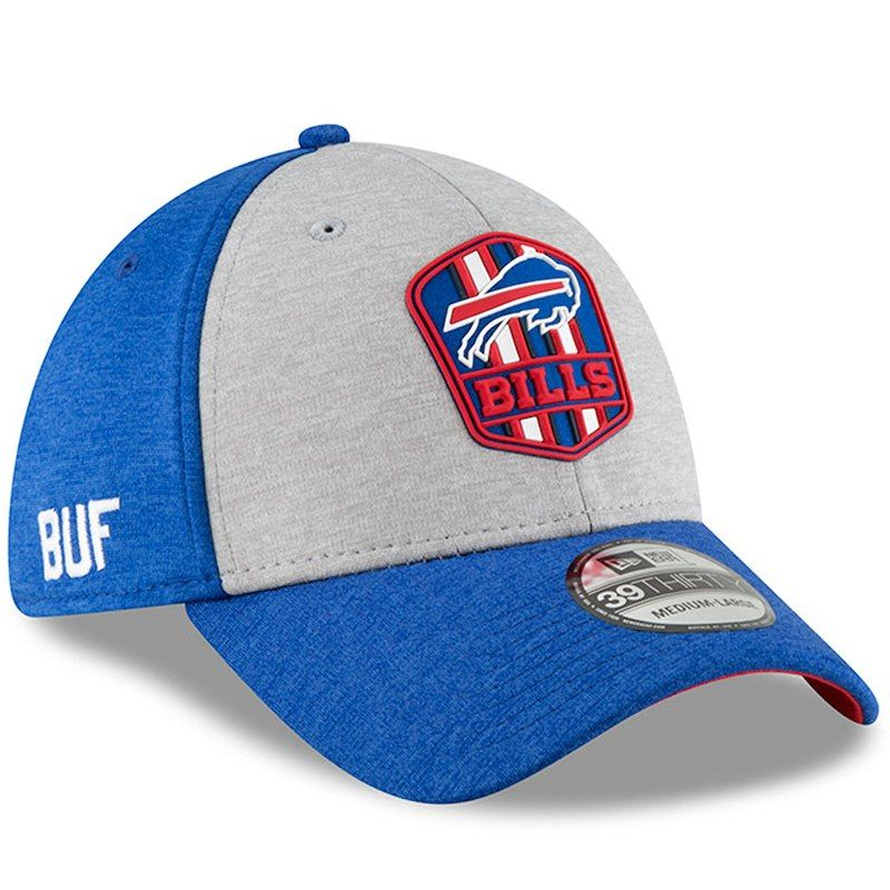 official photos dd3c0 9de0d Buffalo Bills New Era 2018 NFL Sideline Road Official 39THIRTY Flex Hat –  Heather Gray Royal