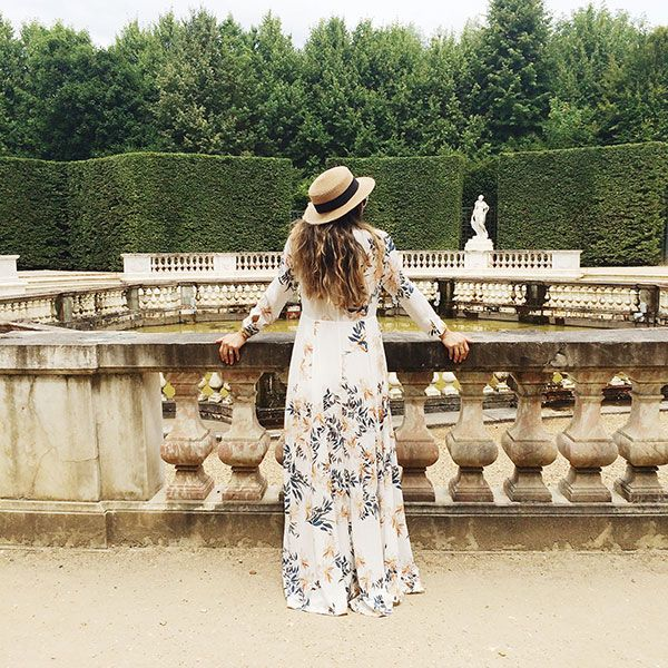 A romantic maxi with a gorgeous backdrop.