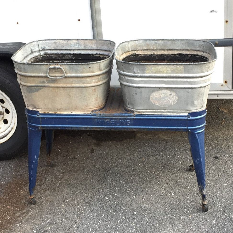 Vintage Wheeler Galvanized Double Wash Tubs With Stand Mid Century Metal Tubs Rustic Planter Party Cooler Primitive Industrial Shabby Metal Tub Rustic Planters Wash Tubs