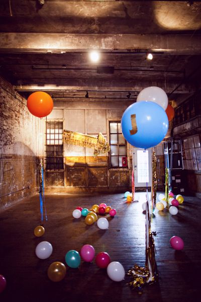 AT the Greenpoint loft - giant balloon decor - This entire wedding is the vibe we're looking for.