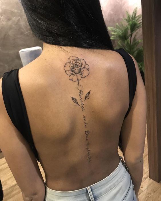 10 More Of Rose Tattoo Designs For Your Desire About Floral Tattoo In 2020 Spine Tattoos For Women Tattoos For Women Flowers Flower Spine Tattoos