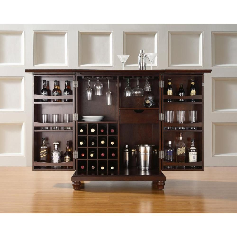 Barschrank Depot Crosley Cambridge Mahogany Bar With Expandable Storage