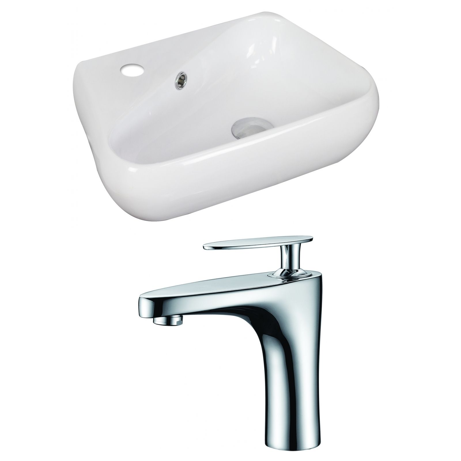 19 In W X 11 In D Unique Vessel Set In White Color With Single Hole Cupc Faucet Wall Mounted Bathroom Sinks Sink Faucet