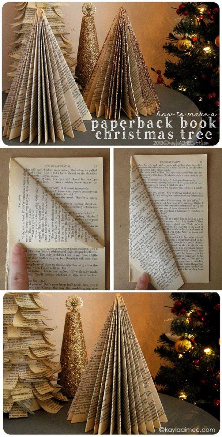 12 Alternative Diy Christmas Trees Gleamitup Book Christmas Tree Christmas Crafts Paper Christmas Tree