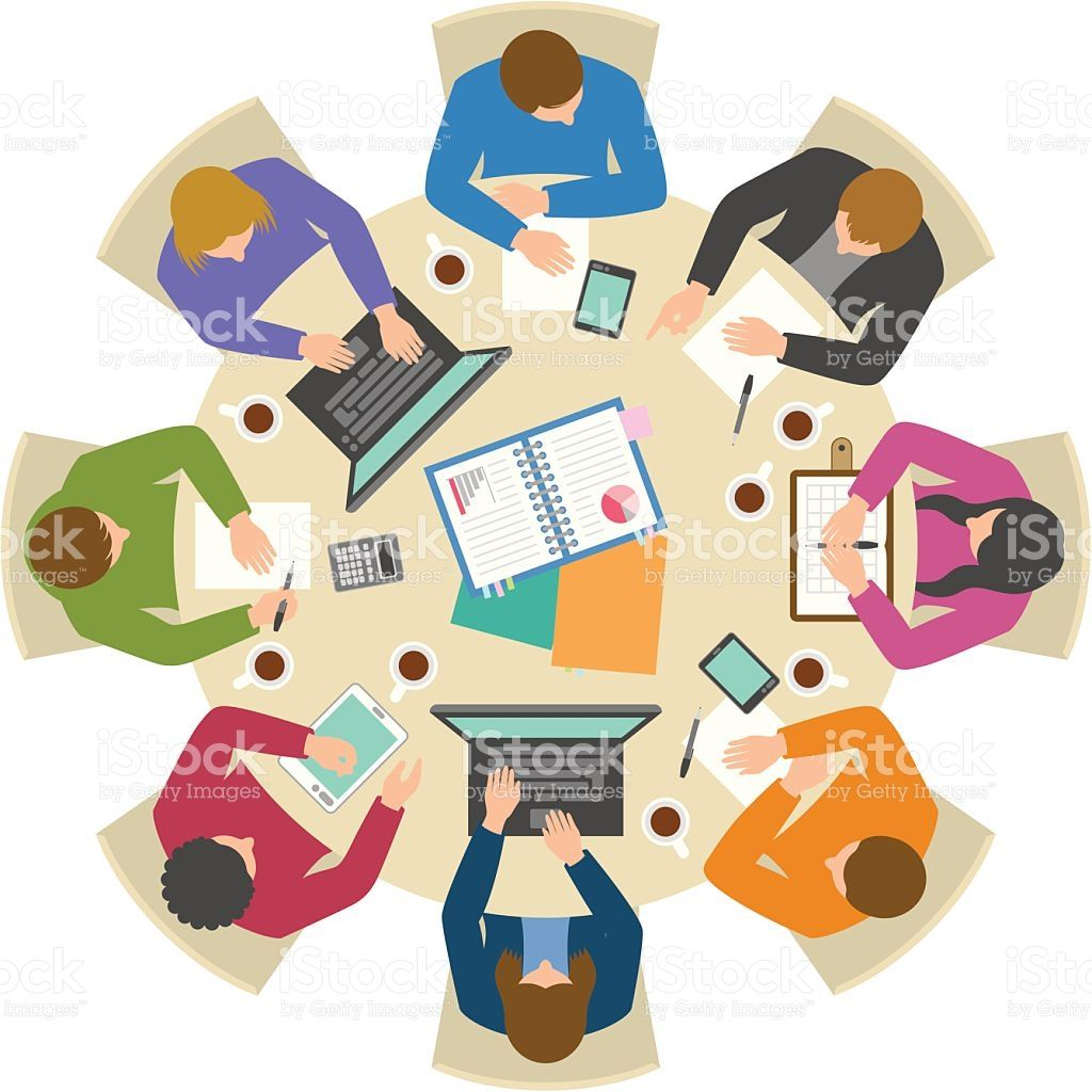 Office Workers Working Hard At Round Table From Directly Above In 2021 Round Table Vector Art Illustration People Illustration