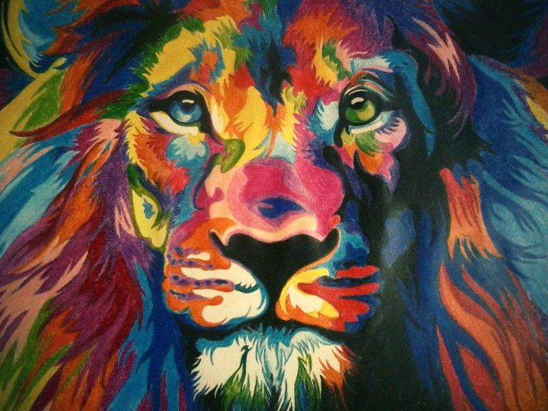 Dibujo Psicod 233 Lico Colores Leon львы Pintura De