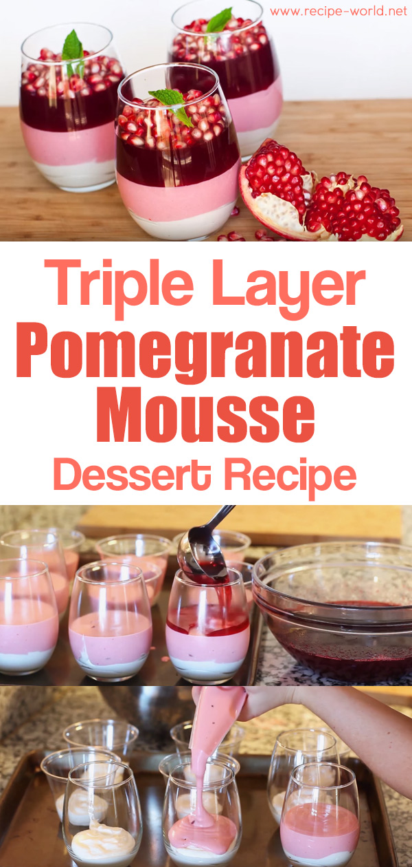 Triple Layer Pomegranate Mousse Dessert #pomegranaterecipesdrinks
