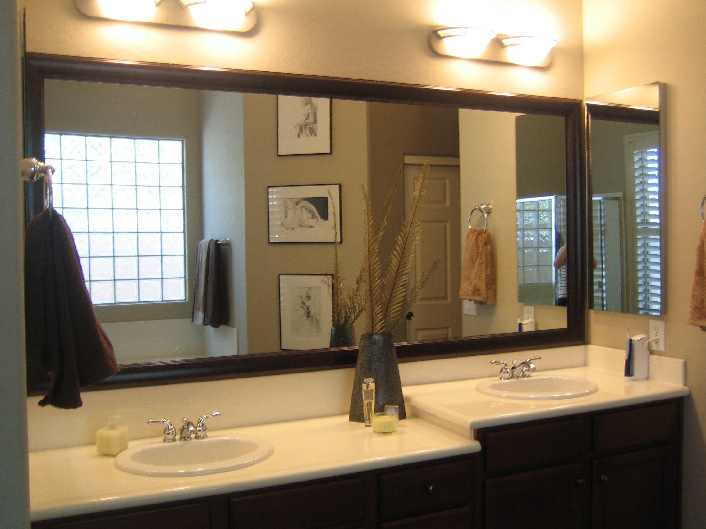 Bathroom Lighting Fixtures Ideas With Astonishing Wide Vanity Mirrors Design