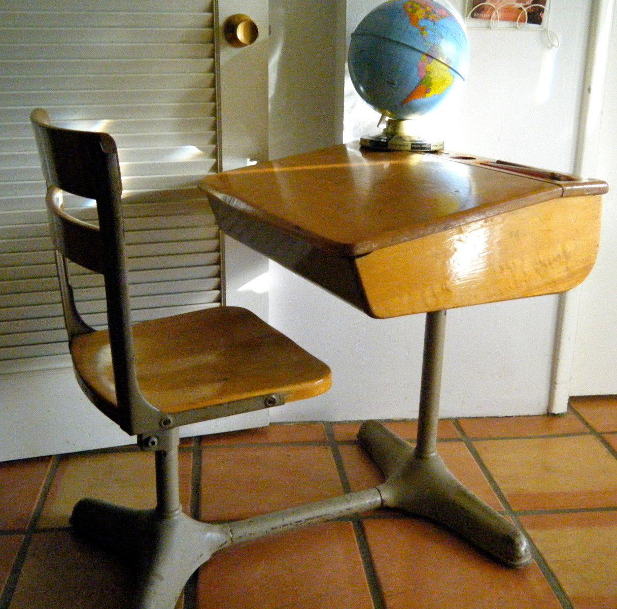 Back to School Sale- Vintage Child's Wooden School Desk with Flip Top Lid,  Wood and Industrial Steel Construction - Vintage Child's Wooden School Desk With Flip Top Lid, Wood And