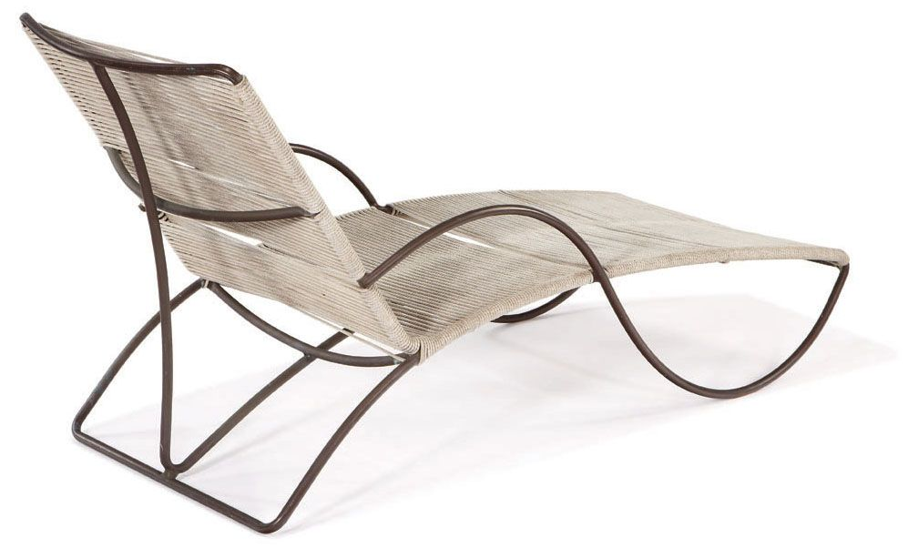 Walter Lamb Chaise Lounge Designed C 1950 Tubular Bronze And Yacht Cord