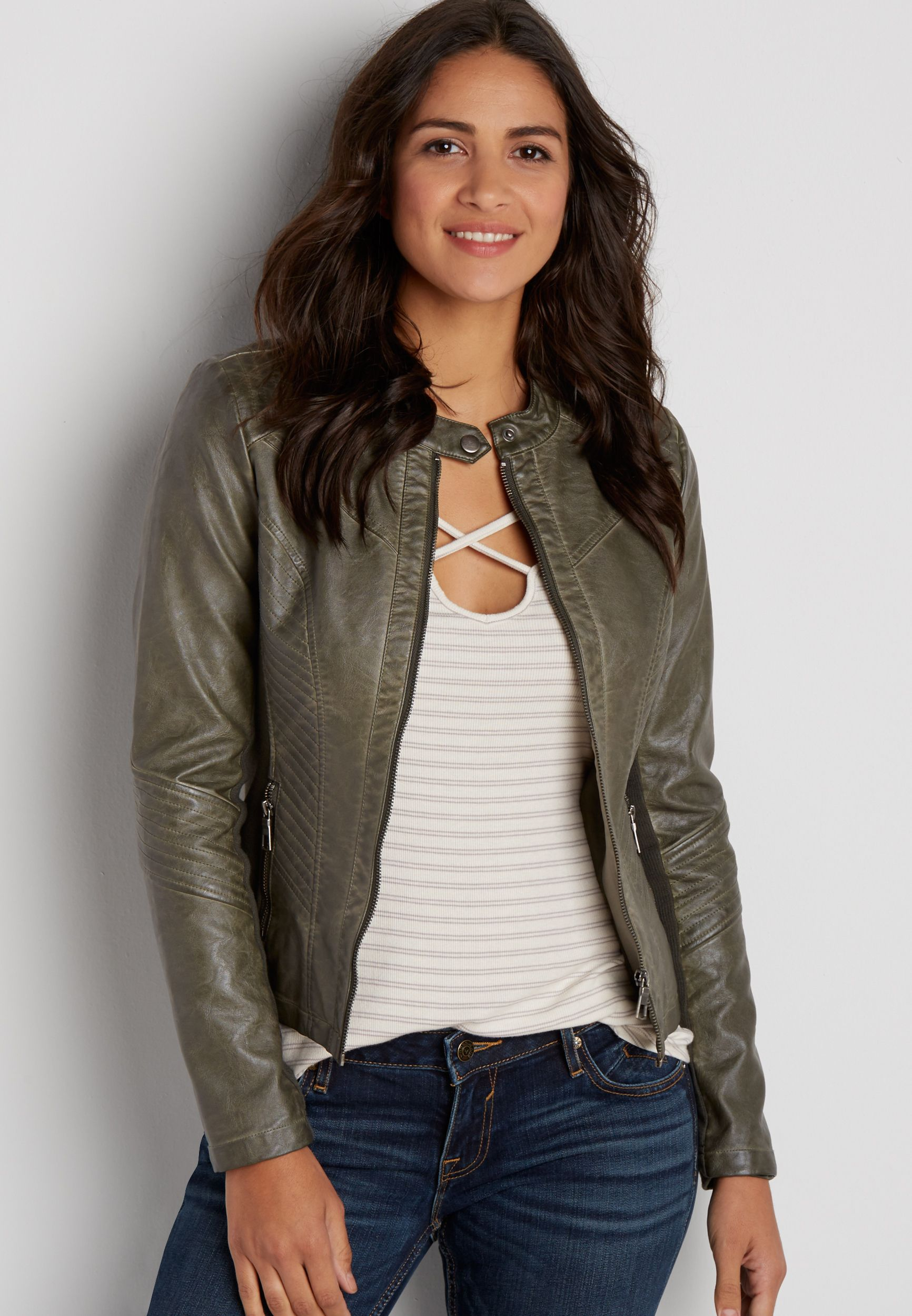 faux leather zip up scuba jacket with knit sides in olive