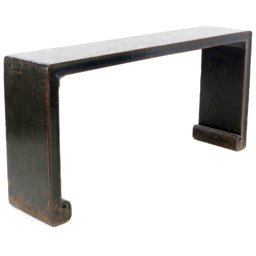 Vintage Chinese 70 Inch Black Scroll Foot Console Sofa Table