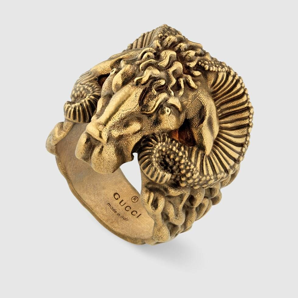 Shop The Metal Ring With Aries At Gucci Com Enjoy Free Shipping And Complimentary Gift Wrapping Fashion Rings Gold Rings Fashion Designer Fashion Rings
