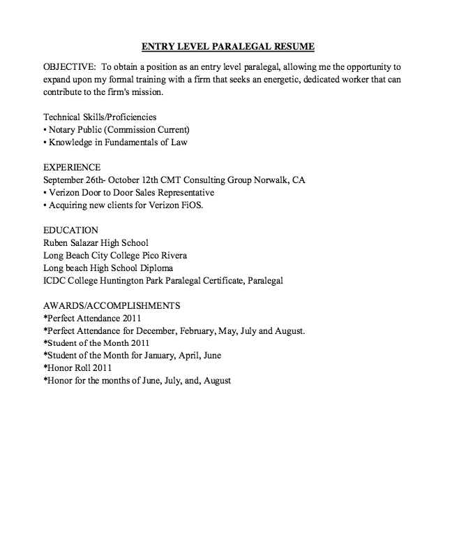 Free Resume Sample Entry Level Paralegal Resume Sample  Httpresumesdesign