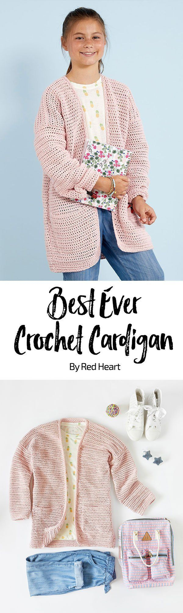 Best Crochet Cardigan Ever free crochet pattern in Amore yarn. This easy to crochet cardigan has a lot going for it! Smooth (not scratchy) yarn, a cool longer length and nifty pockets. Choose from a super array of colors in this amazing washable yarn.