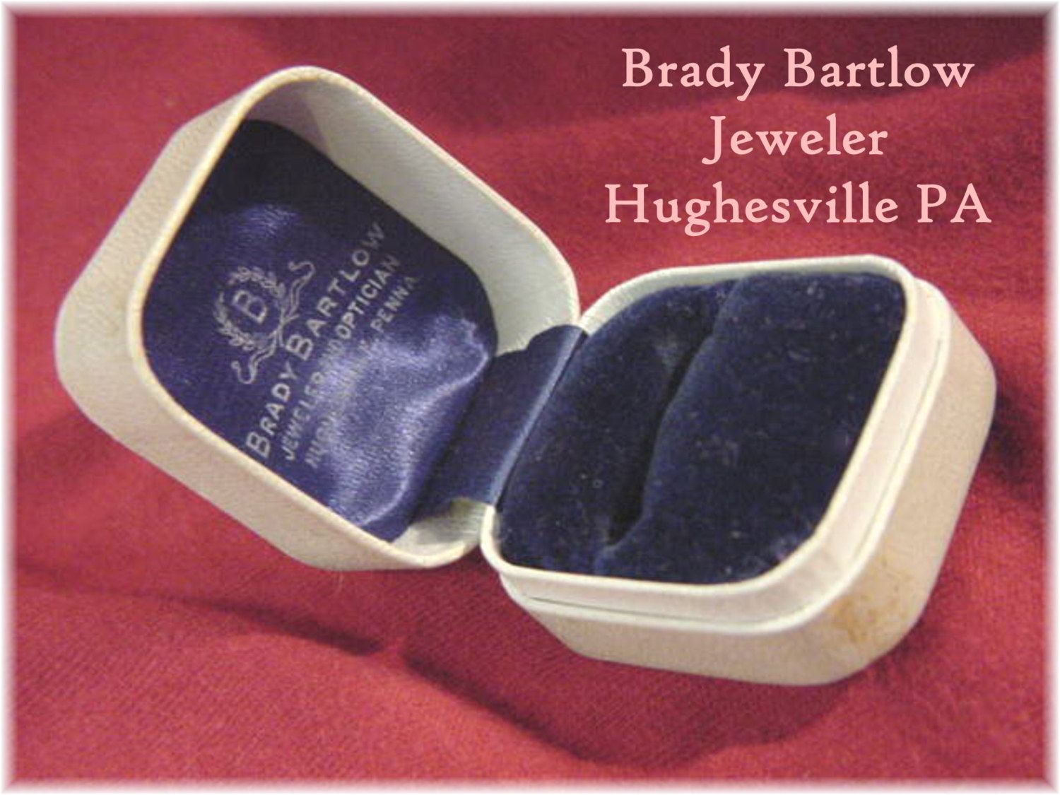 Vintage Ring Presentation Display Box 1930s - Bartlow Jewelry Store Hughesville PA - Engagement Wedding Ring - Estate Antique  FREE SHIPPING