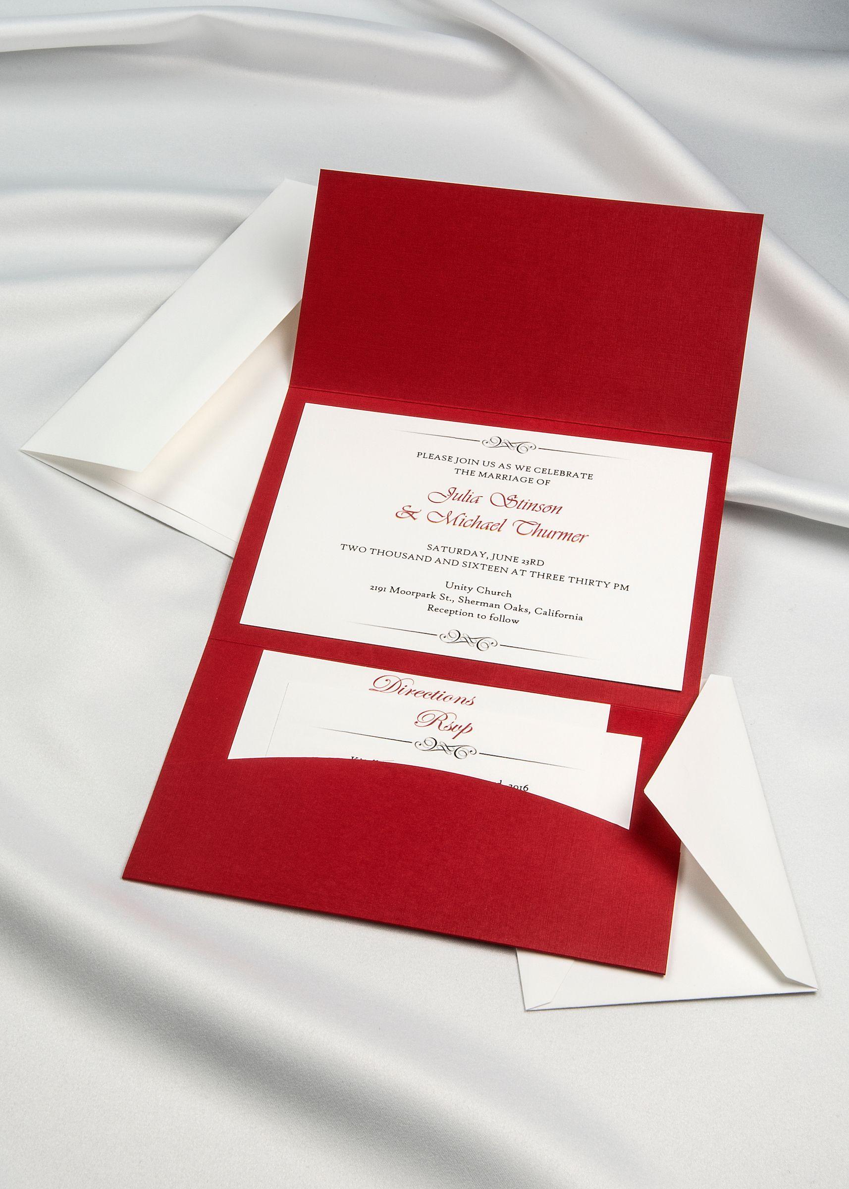 Red Linen Horizon Pocket Folder with White Cards and envelopes DIY ...