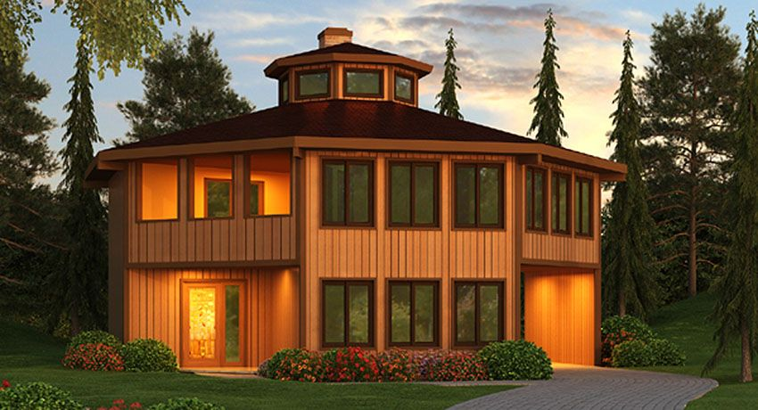 Plan 3897ja Octagonal Vacation Home With Conversation Pit Octagon House Modern Contemporary House Plans Vacation House Plans