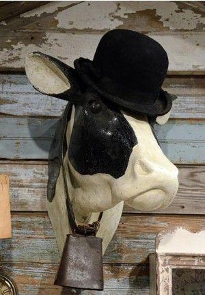 French Cow Head Cow Head Wall Mount Cow Head Decor Cow Head Hanging Wall Decor
