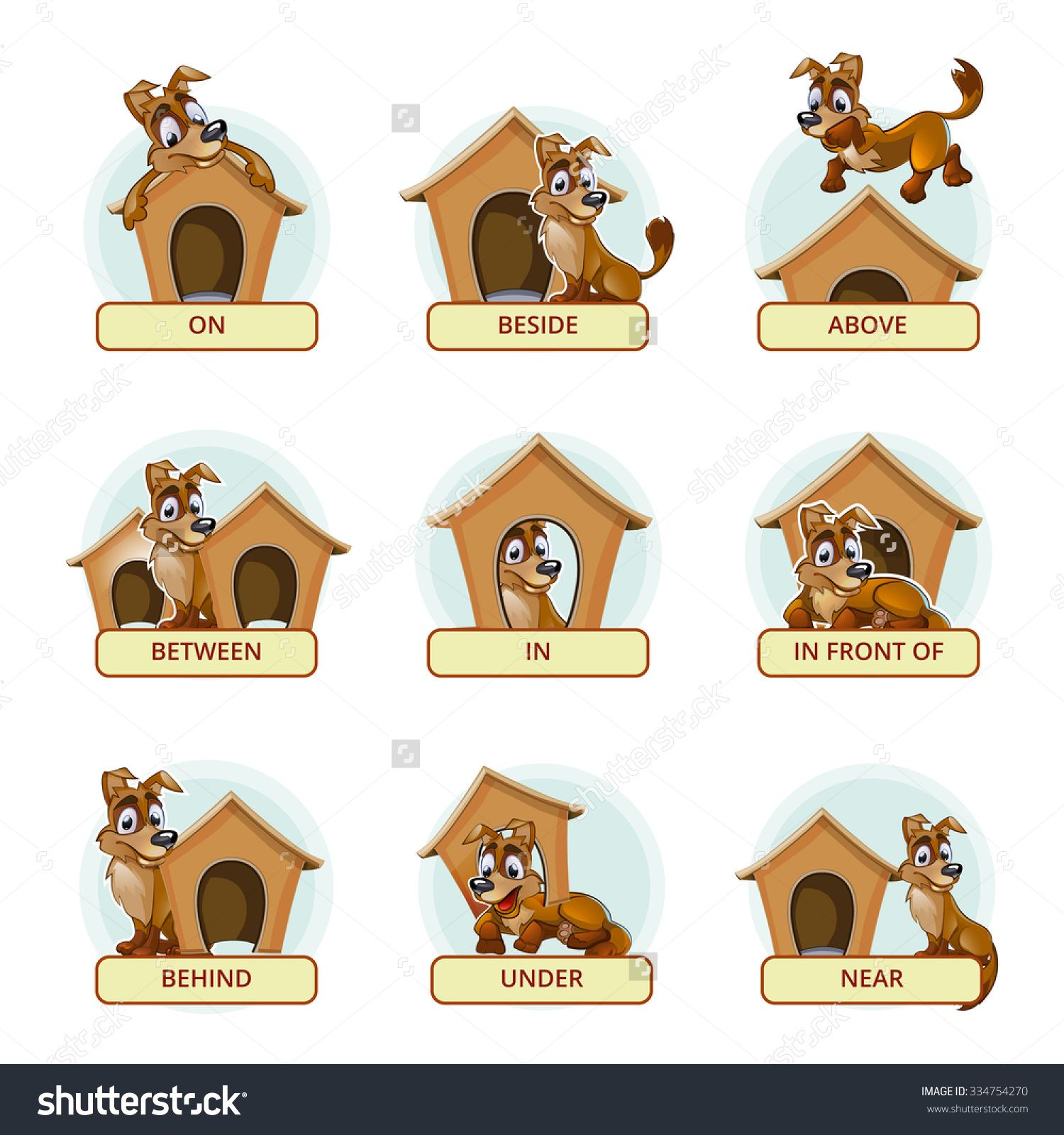 Stock Vector Cartoon Dog In Different Poses To Illustrate