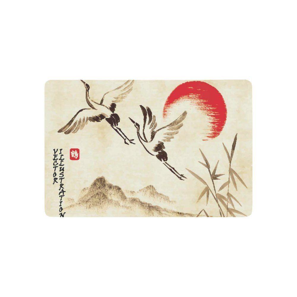 Interestprint flying storks sunset hills landscape anti