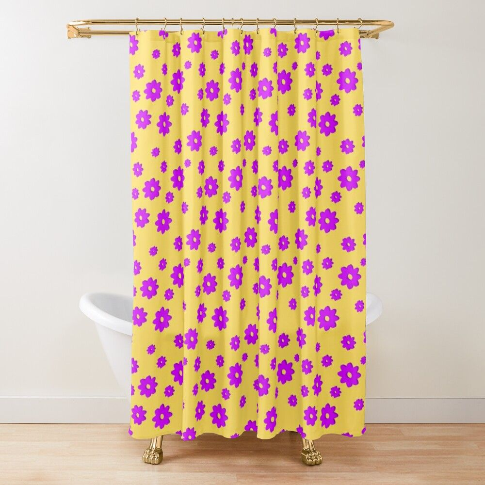 Happy Summer Flower Seamless Pattern Purple And Yellow Shower