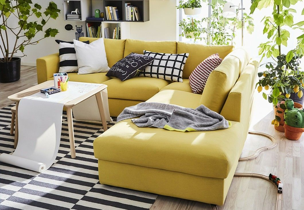 Yellow sofa IKEA vimle | Obývák | Pinterest | Yellow sofa, Living ...