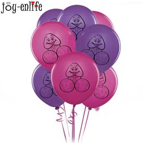 JOY-ENLIFE 10pcs/lot Funny Willy Penis Latex Balloon For Bachelorette Party Hen Night Party Decoration Event Party Supplies