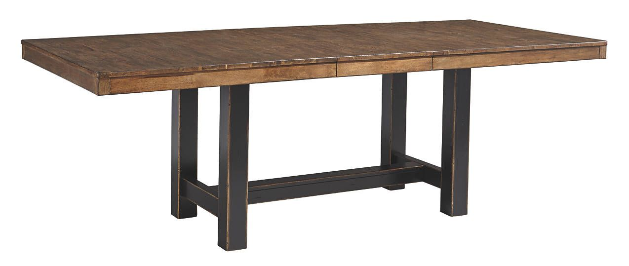 Emerfield Rustic Modern Two Tone Extendable Dining Table