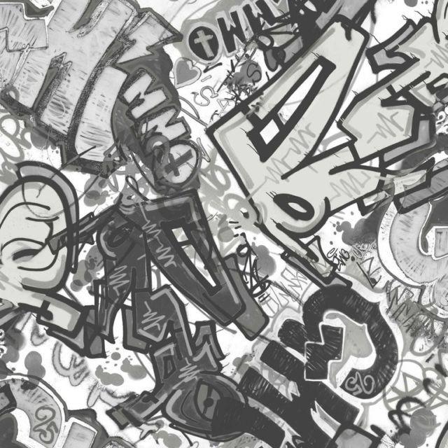 Smita Vlies Whats Up Jugend Tapete Grafitti Wu17641 schwarz weiß - jugendzimmer schwarz wei