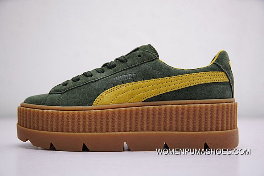 f647c380478 Rihanna X Puma Fenty Suede Cleated Creeper 366267-03 GREEN New ...