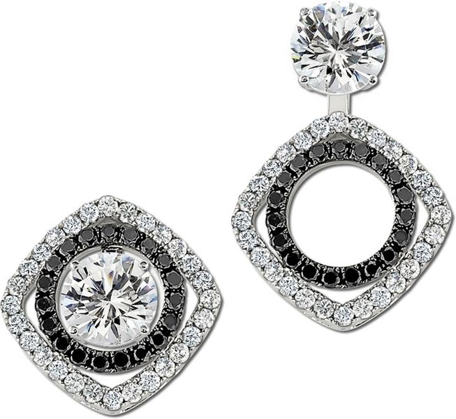 14k Circle And Square Black White Diamond Earring Jackets Gottlieb Sons