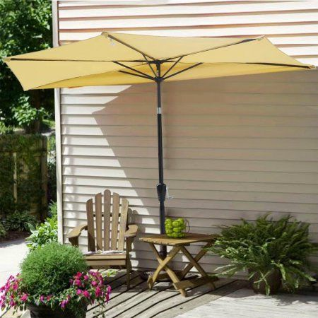 10 Aluminum Tilt 5 Ribs Half Patio Umbrella Wall Balcony Sun Shade Walmart Com Patio Patio Umbrella Rectangular Patio Umbrella