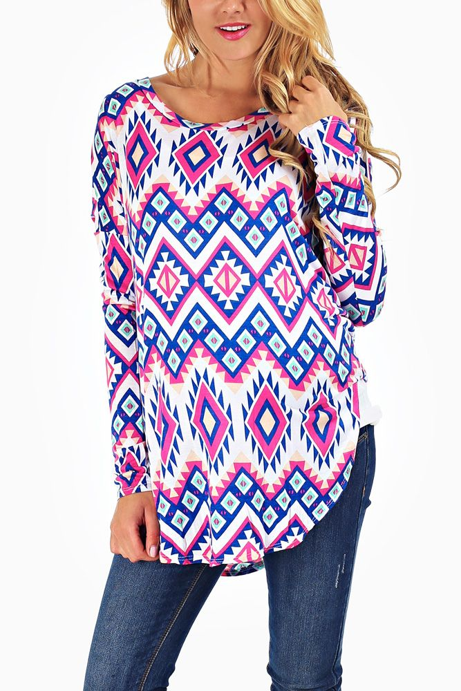 Blue-Multi-Colored-Tribal-Printed-Maternity-Top #maternity #fashion #giveaway #contest #outfitinspiration