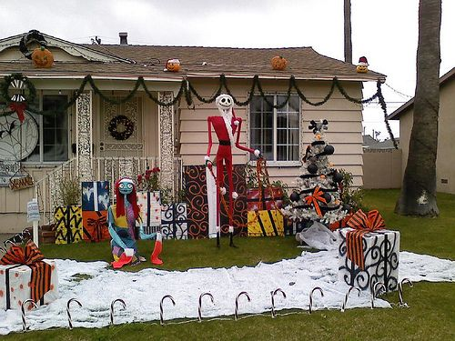 nightmare before christmas inspired decorated yard