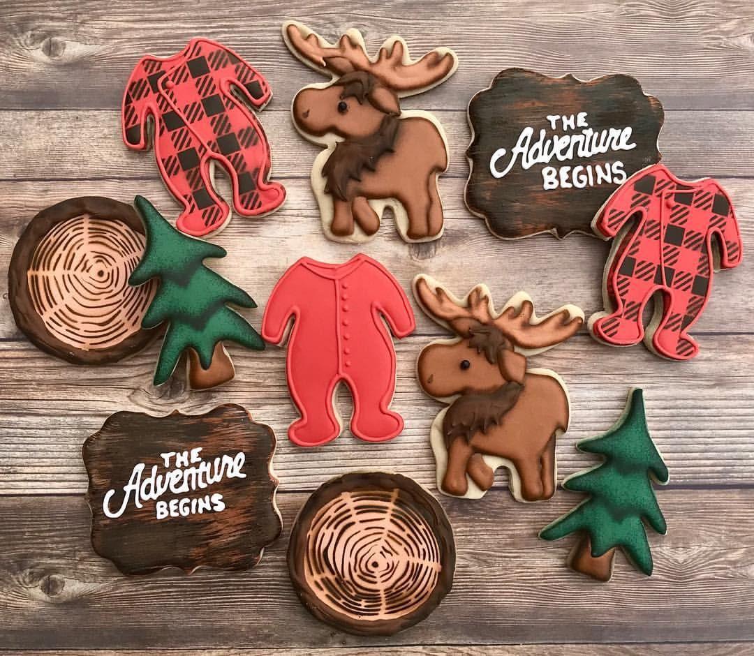 Lumberjack Baby Shower Cookies Plaid Pajamas Trees