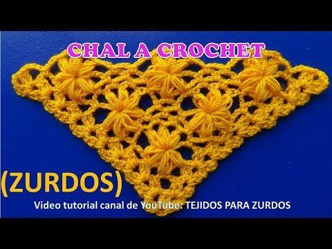 Para ZURDOS Chal a crochet en V, en punta o triangular paso a paso en punto Jazmin - YouTube
