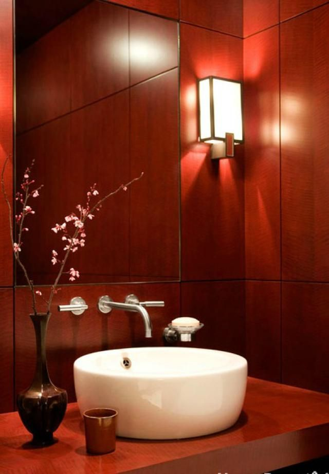 marsala the pantone color of the year 2015 modern bathroom sleek features are adornment enough for lacquered dyed maple paneling and cabinetwork in this